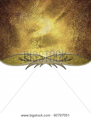 Grunge Gold Background With Gold Pattern On A White Background. Design Template. Design For Site
