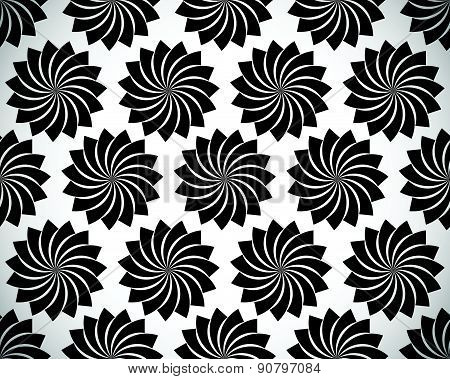 Seamless Pattern With Petal Shapes Of A Lotus Flower. Vector