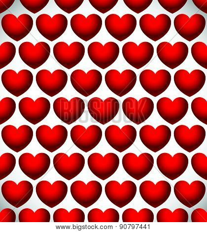 Repeatable Heart Pattern, Heart Background. Eps 10 Vector.
