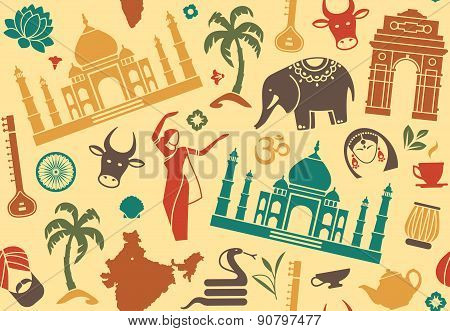 Seamless background on a theme of India