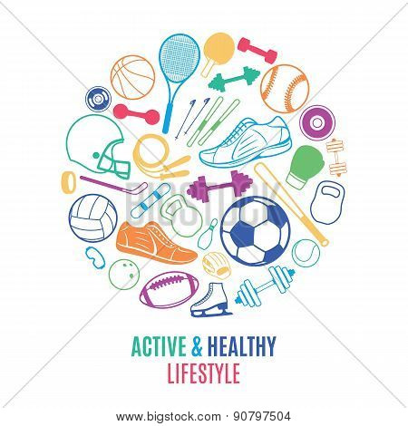 Sport Equipment, Healthy Lifestyle Pattern, Label Template