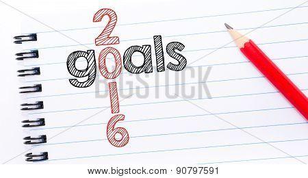 Year 2016 Goals  Crossword  Written On Notebook Page