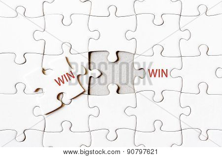 Missing Jigsaw Puzzle Piece Completing Word Win Win
