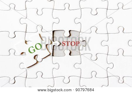 Missing Jigsaw Puzzle Piece With Word Go