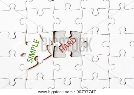 Missing Jigsaw Puzzle Piece With Word Simple