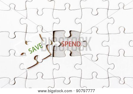 Missing Jigsaw Puzzle Piece With Word Save