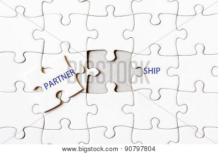 Missing Jigsaw Puzzle Piece Completing Word Partnership