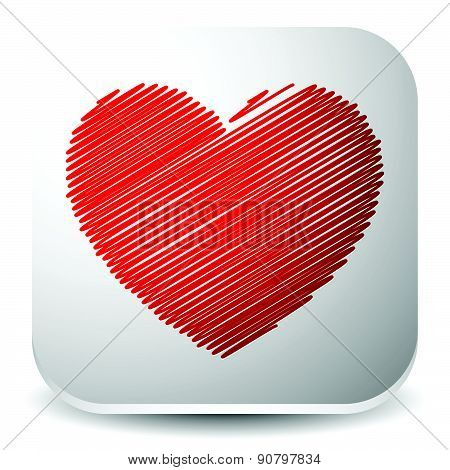 Vector Graphics With Red Heart. Eps 10.