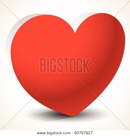 3D Heart Shape Isolated. Eps 10 Vector Graphics With Transparent Shadow. Love, Affection, Positive E