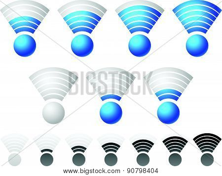 Bright Blue Wireless Signal Strength Indicator Set With Grayscale, Monochrome Version Included.