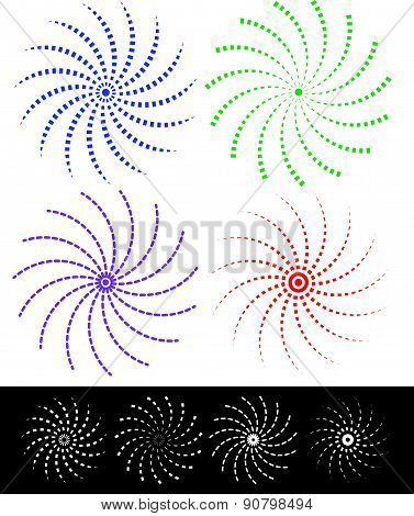 Various Colorful Abstract Spirally Elements With Dashed Lines. Vector.