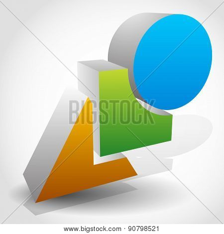 Basic Shapes 3D Graphics With Transparent Shadows