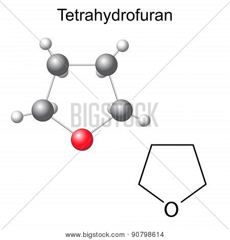Chemical Formula And Model Of Tetrahydrofuran Molecule