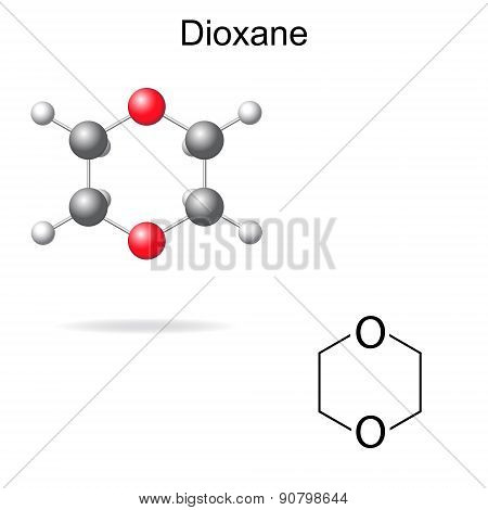 Chemical Formula And Model Of Dioxane
