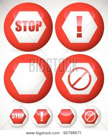 Various Stop, Attention Or Warning Signs. Vector.