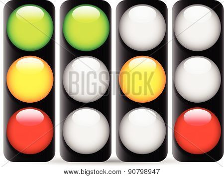 Traffic Lamps, Traffic Lights Isolated On White, Vector