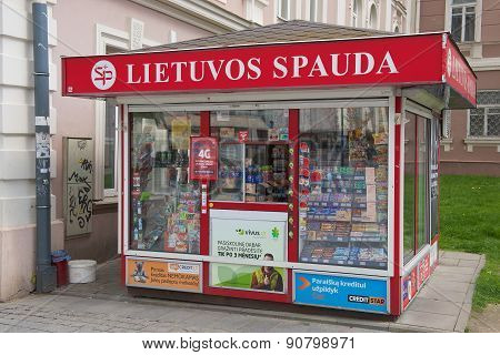 Exterior of the newspaper kiosk in Vilnius, Lithuania.