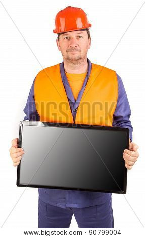 Workman with lcd monitor.