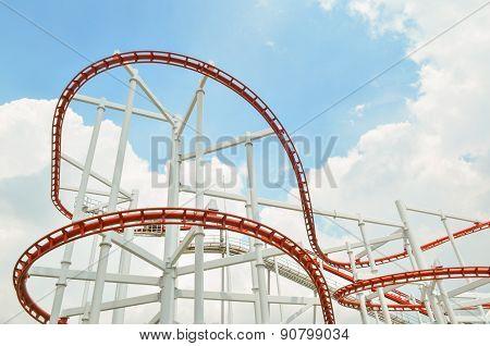 Colorful Roller Coaster Over Blue Sky