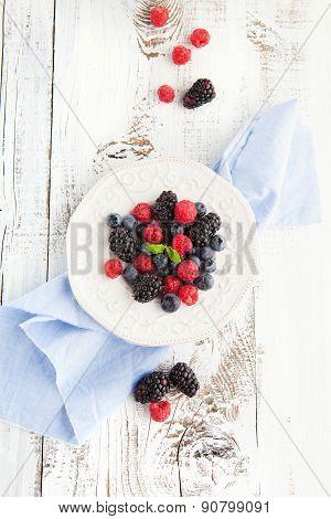 Fresh Blueberries, Raspberries And Blackberries