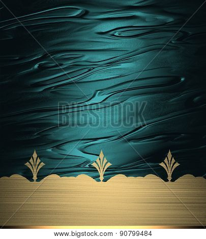 Blue Abstract Background With Gold Pattern. Template Design For Text. Template For Site