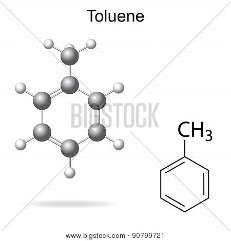Structural Formula And Model Of Toluene