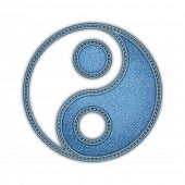 picture of yin  - Yin Yang vector illustration in denim style - JPG