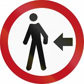 stock photo of pedestrian crossing  - Regulatory road sign in Colombia - JPG