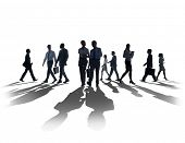 foto of commutator  - Silhouette Business People Commuter Walking Rush Hour Concept - JPG
