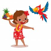 stock photo of parrots  - illustration of a cheerful tropical island girl holding tropical fruit tray and her parrot - JPG