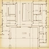 picture of fragmentation  - Straight vector architecture background with blueprint fragment - JPG