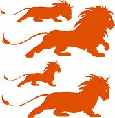 stock photo of lion  - vector illustration of various lion silhoettes - JPG