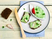 picture of canapes  - canape with cottage cheese greens and a garden radish - JPG