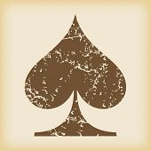picture of spade  - Grungy brown icon with spades card symbol - JPG