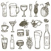 picture of alcoholic drinks  - Set of Sketch Cocktails and Alcohol Drinks vector illustration - JPG