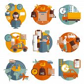 stock photo of logistics  - Logistics concept with transportation delivery and people round icons set flat isolated vector illustration - JPG