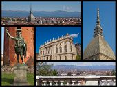 stock photo of turin  - Landmarks collage of the city of Turin Italy - JPG