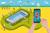 pic of swimming  - Hands holding touchscreen smart phone and tablet. In the screen a mobile applications for booking.  At the background, a paradise Swimming pool in a giant smart phone with men and women enjoying their vacations. - JPG