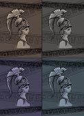 stock photo of sparta  - Athena drawing vector illustration set art sign - JPG