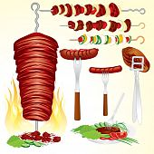 picture of souvlaki  - Set of grilled meats  - JPG