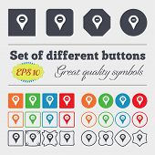 stock photo of gps  - Minus Map pointer GPS location icon sign Big set of colorful diverse high - JPG
