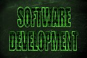 foto of binary code  - the word Software Development with a binary code pattern fill and chalk - JPG