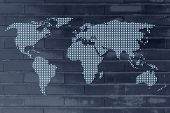 picture of gps  - Gps geolocalisation pins creating the map of the world - JPG
