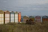 pic of beach hut  - Colorful beach huts in good weather. 