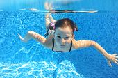 pic of swimming  - Happy child swims in pool underwater - JPG