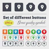 stock photo of gps  - Map pointer GPS location icon sign Big set of colorful diverse high - JPG