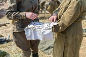 picture of nazi  - two soldiers in uniform with medical instruments - JPG