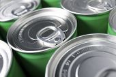 pic of hermetic  - Closeup of a group of aluminium cans - JPG