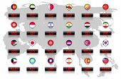stock photo of indian currency  - Countries flags with official currency symbols - JPG