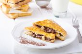 image of french toast  - French toast stuffed with chocolate and banana fresh milk clean composition - JPG